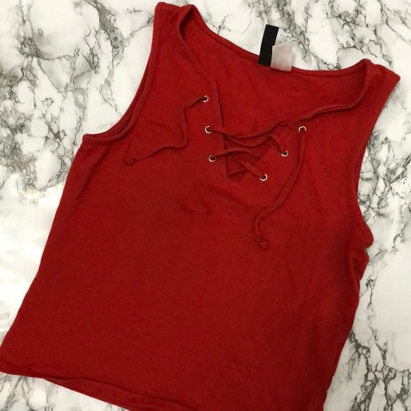 a4337781bd5 H&M Tops | Sexy Red Cross Strings Crop Top | Poshmark